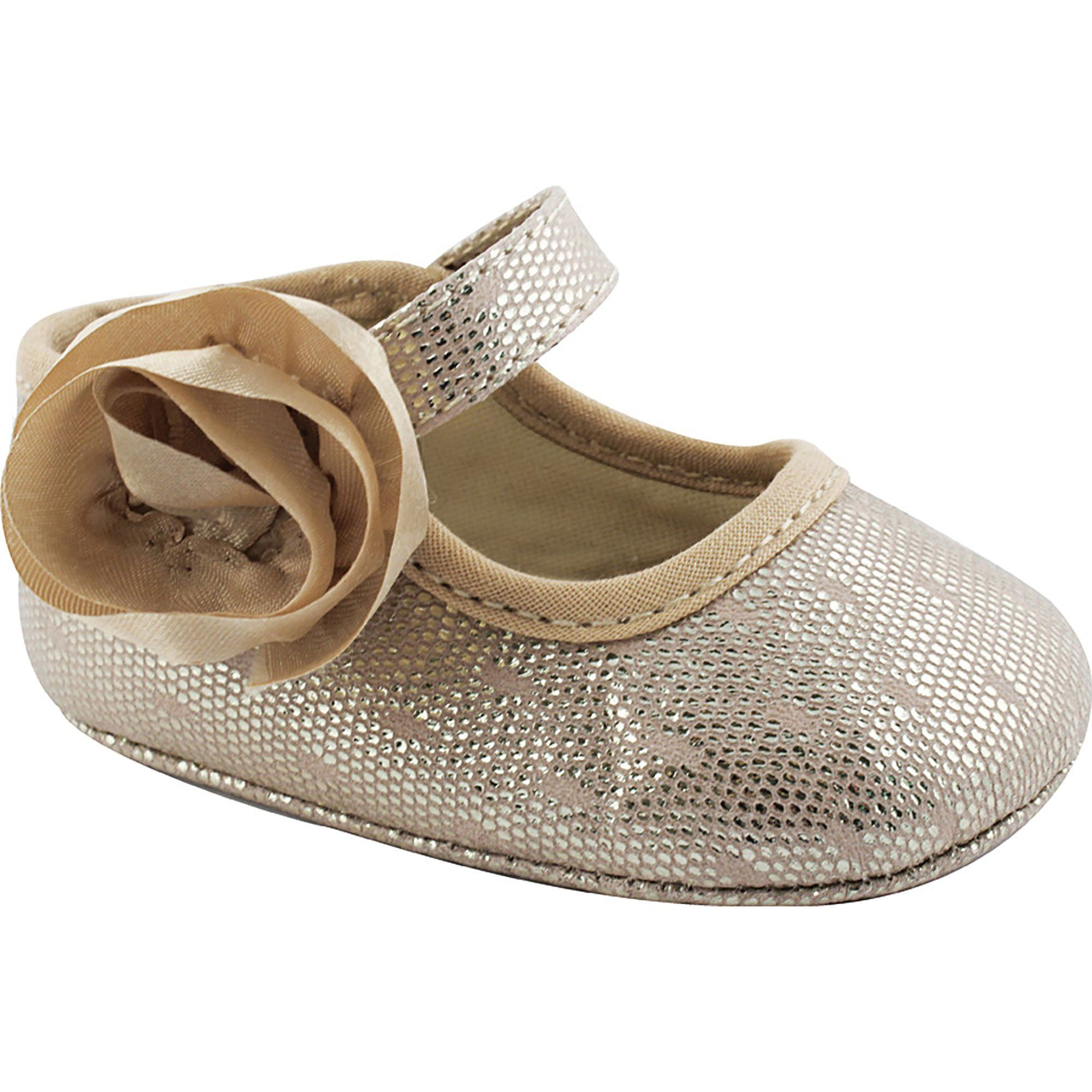Wee Kids Metallic Mary Jane Baby Girl Shoes With Flower Infant Crib