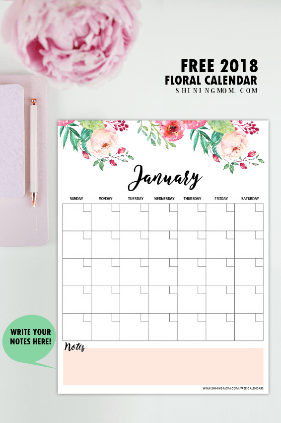 Free Monthly Calendar 2019 and Life Planner in Florals ...