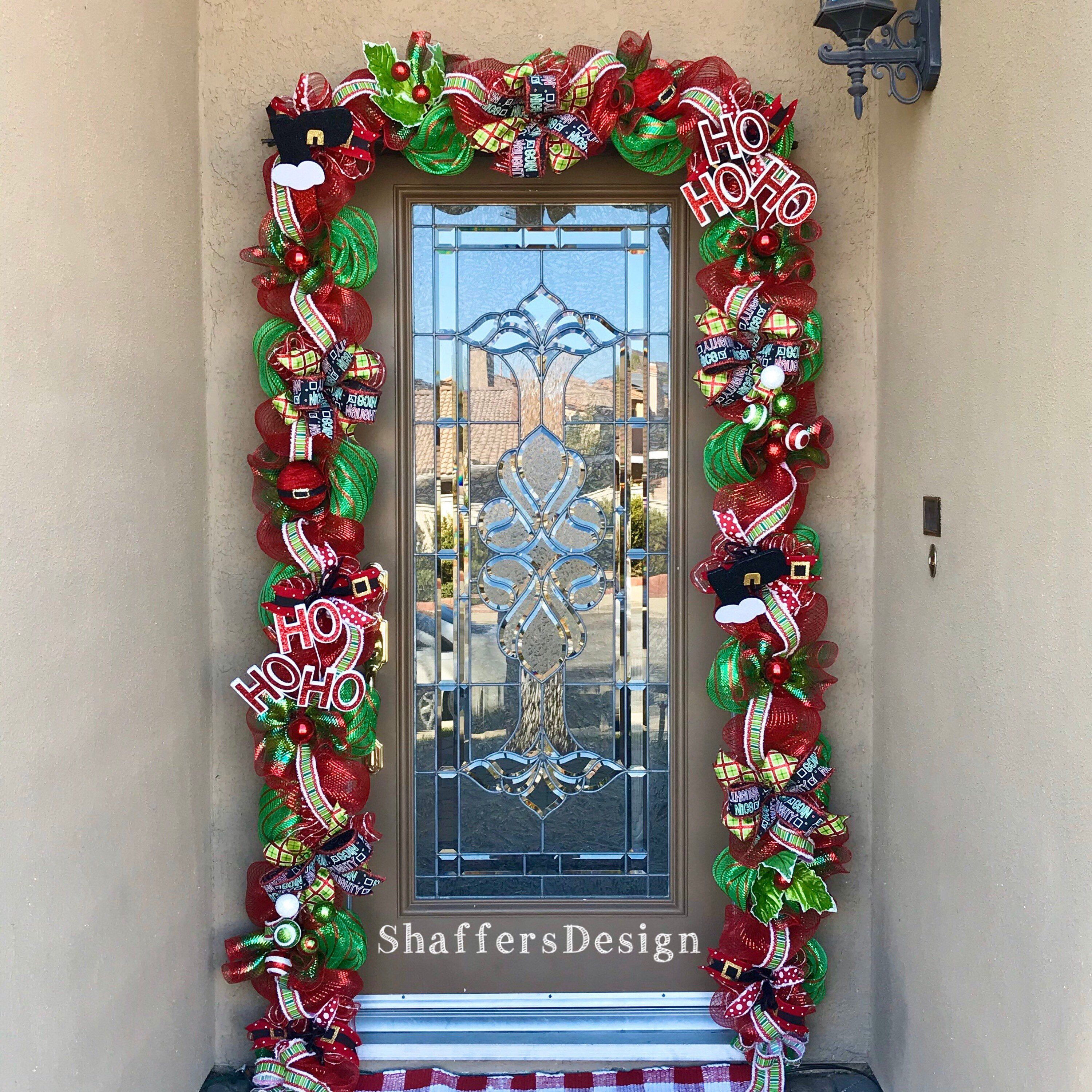 Outdoor Christmas Garland With Lights Red And Green Christmas Door Decor Christmas Front Door Garland With Lights Outdoor Christmas Garland Christmas Lights Garland Christmas Door Decorations