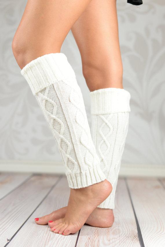 White Fold Over Cable Knit Leg Warmers | Cable, Diseño de diamante y ...