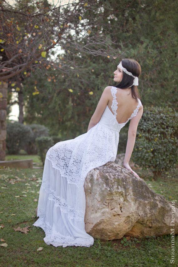 White Lace Bohemian Wedding Dress Boho Bridal Long Gown