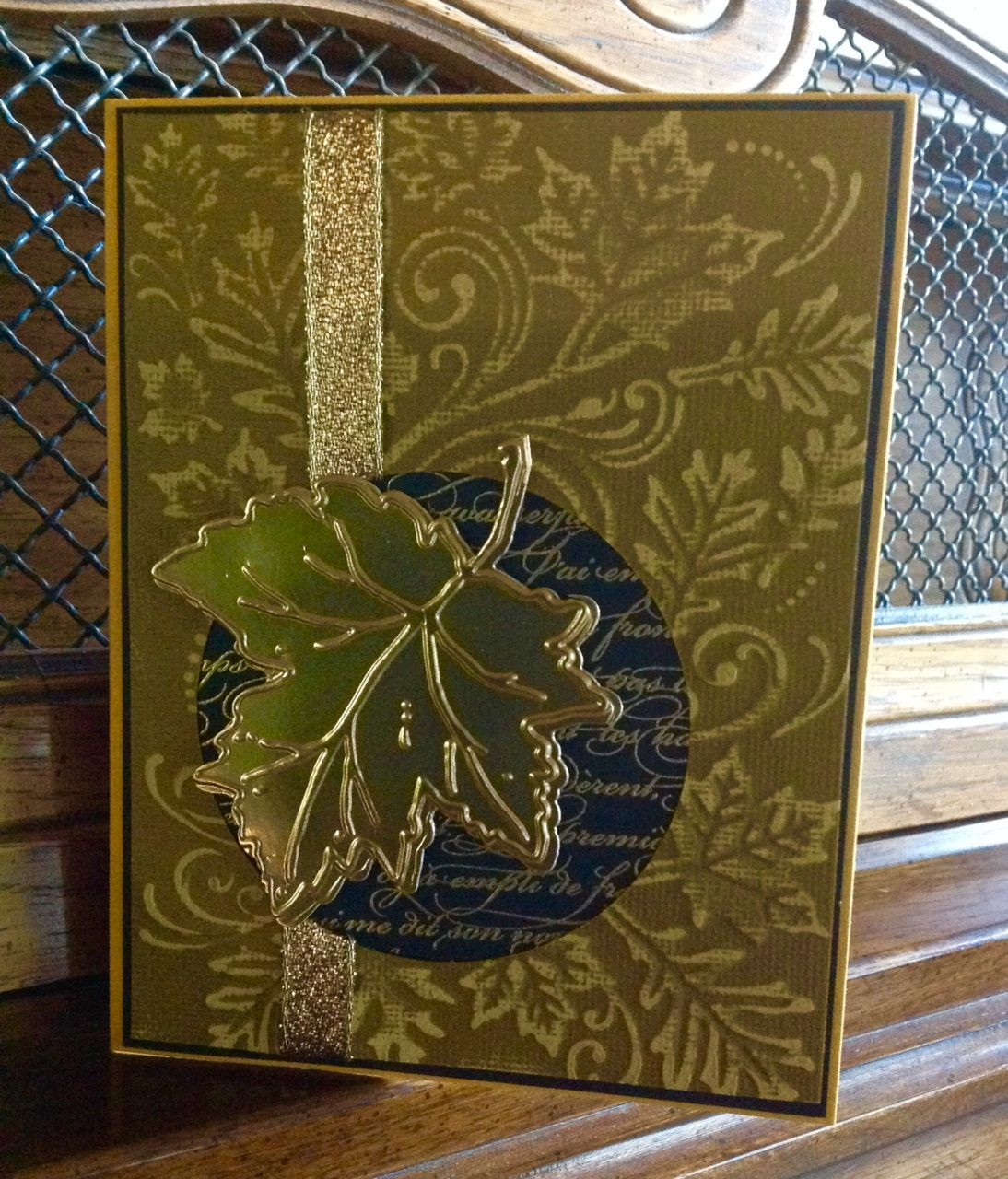 Gold color cardstock paper - Embossed Darice Falling Leaves Onto Gold Color Core Cardstock Sanded It Embossed And Die