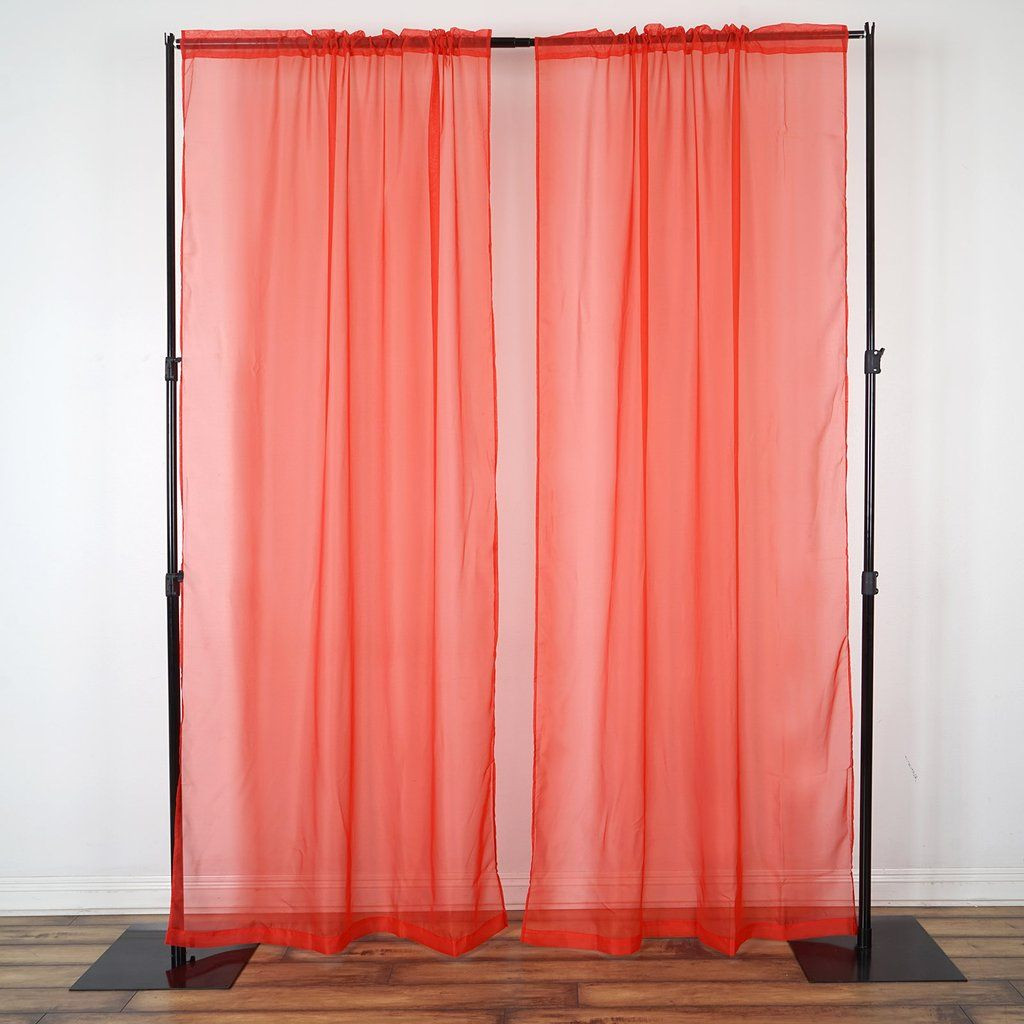 2 Pack 9ft Red Organza Sheer Backdrops Curtain Panel With