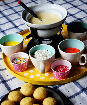 Cupcake Fondue: for sure going to do this for a fun girls night! Would be fun for a kid's birthday party where each child creates the birthday 'cakes'.