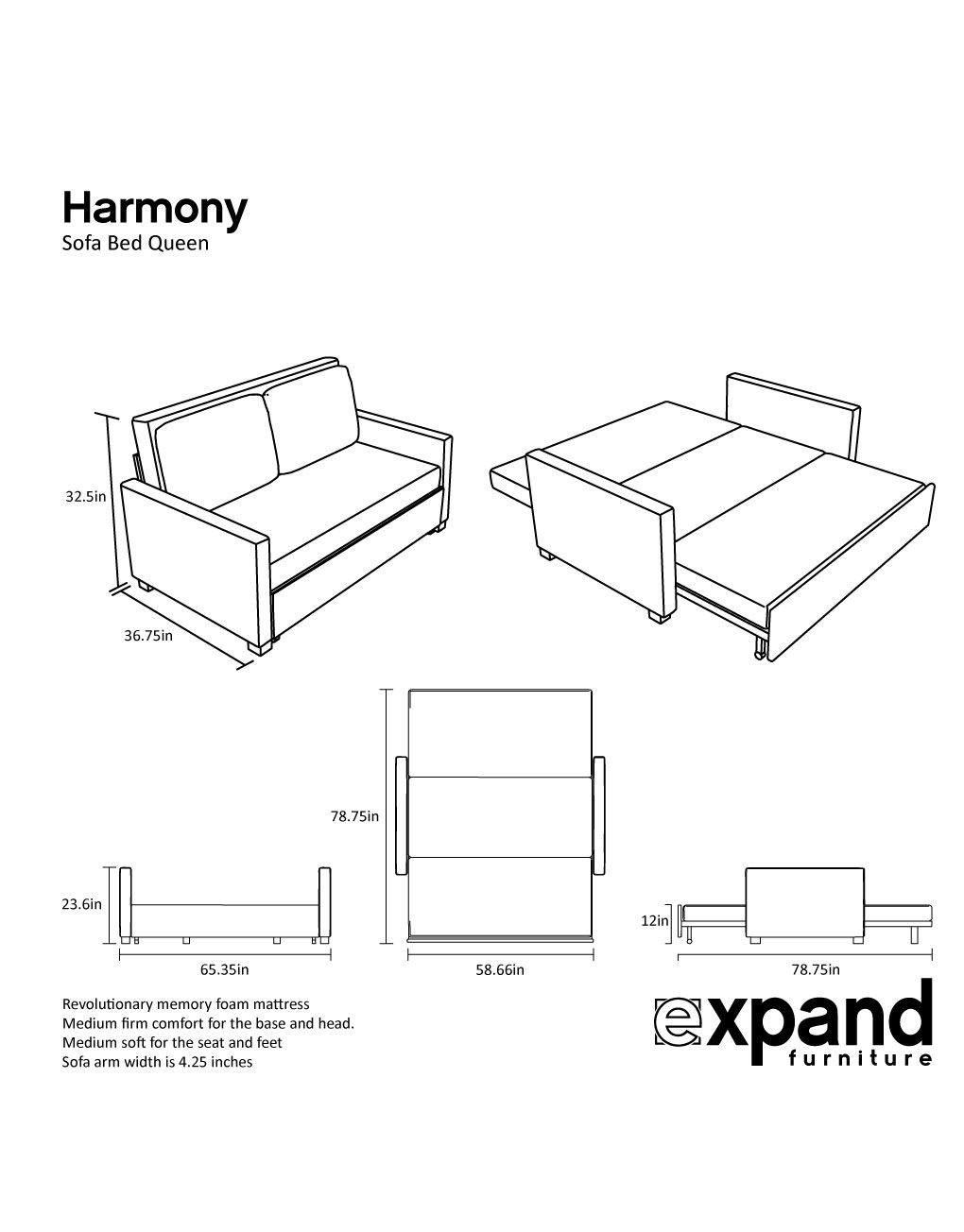 Harmony Queen Size Memory Foam Sofa Bed Foam Sofa Bed Sofa Bed Queen Murphy Bed