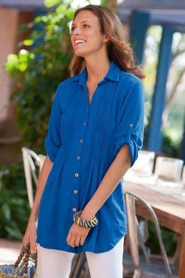 f656896d34 Getaway Gauze Shirt - Cotton Gauze Shirt Women, Womens Crinkle Shirt,  Crinkle Cotton | Soft Surroundings