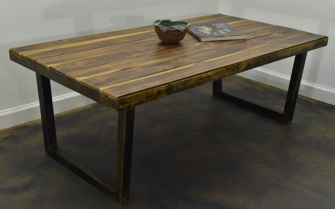 steel and redwood coffee table