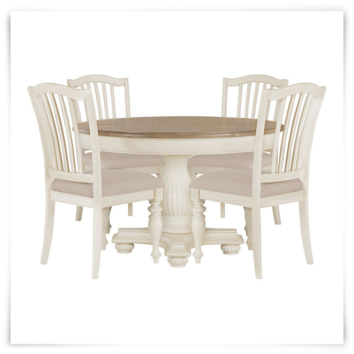 Coventry Two Tone Round Table 4 Wood Chairs Round Dining Table Sets City Furniture Wood Chair