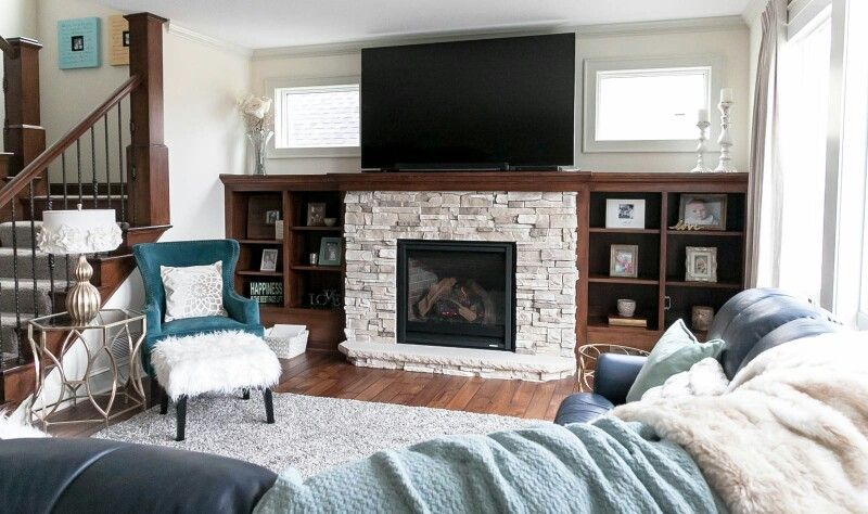 Gas Fireplace white and gray stone surround. Quarter sawn ...
