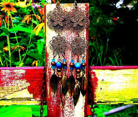 Embellished Filagree Dangle earrings. Long by TheBeadedPaths, $22.00