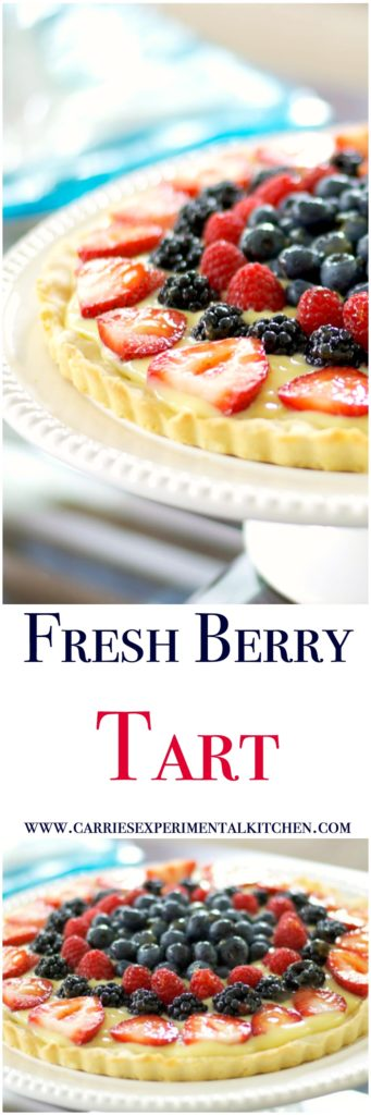 This Fresh Berry Tart made with vanilla pudding and fresh berries on a cookie crust is deliciously cool, refreshing and so easy to make / Carrie's Experimental Kitchen