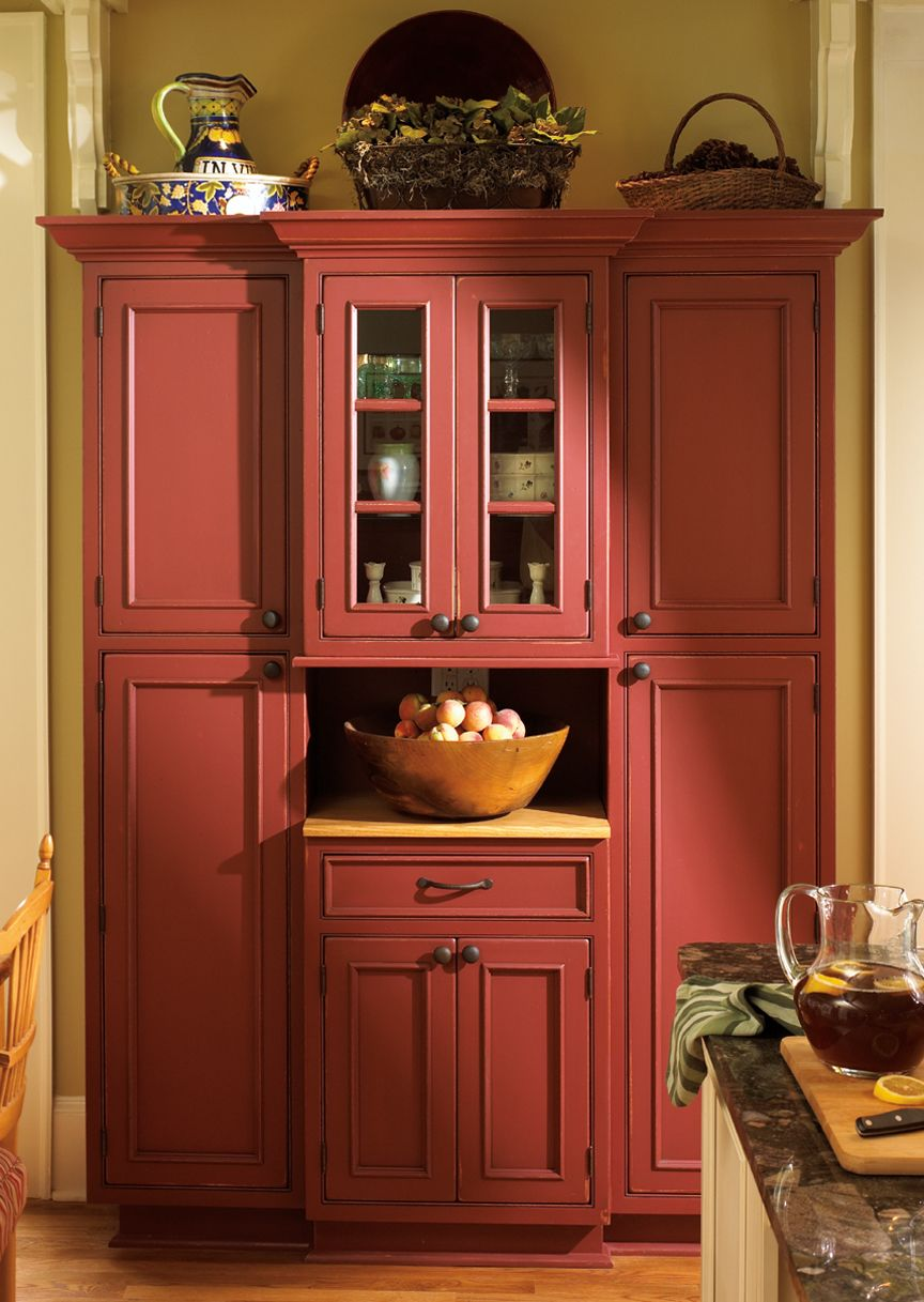 A Freestanding Armoire Finished In A Unique Cranberry Red For A Soft Pleasing Look Crafted From Red Kitchen Cabinets Rustic Kitchen Cabinets Kitchen Cabinets