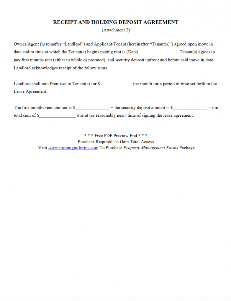 The Sample Of Pre Contract Deposit Agreement Template