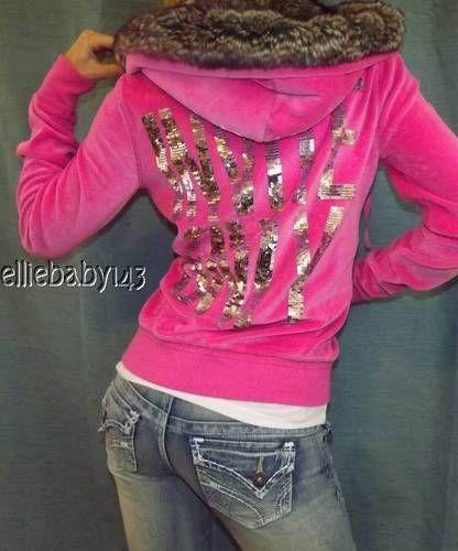 Victorias Secret vs Pink Bling Zip Hoodie Fur Hooded Sweatshirt ...