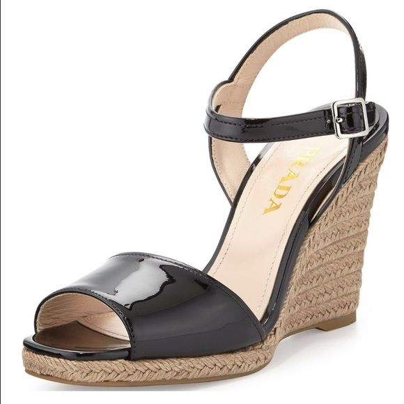 Prada authentic NWT wedge sandal size 39 Beautiful authentic prada espadrilles - brand new never worn! Found them at a Nordstrom rack. No box, but still has tags. Gorgeous black patent leather. Prada Shoes Espadrilles