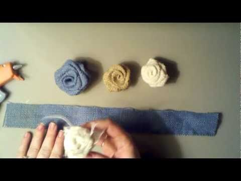 Pin By My Online Wedding Help Plan On How To Make Burlap Flowers Burlap Roses Fabric Flowers Burlap Flowers
