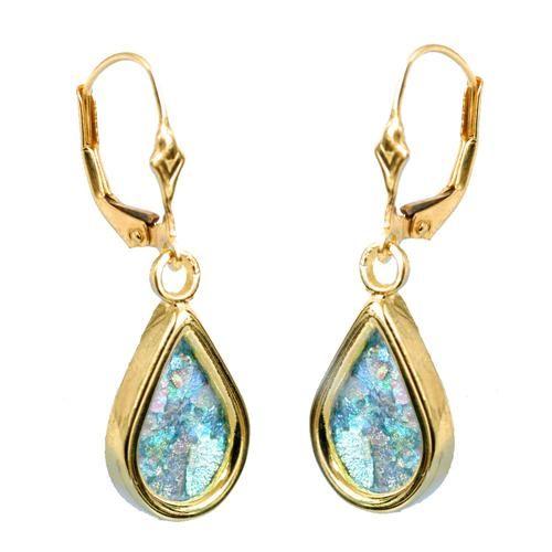 Roman Glass Jewelry gold   14k Gold Roman Glass Tear Drop Earrings