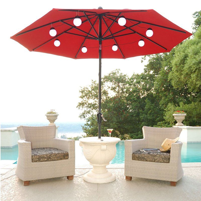 String Of Lights Attaches To An 8 Rib Patio Umbrella.