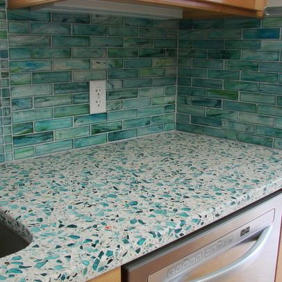 Sea Glass Countertop And Backsplash Recycled Glass Countertops