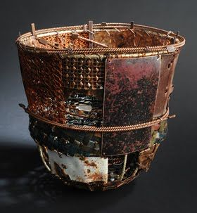 John Garrett Albuquerque, New Mexico New Age Basket No. 4, 2009 found and collected steel and copper, wire, paint and beads Photo credit: Margo Geist, Courtesy of the Chiaroscuro Gallery