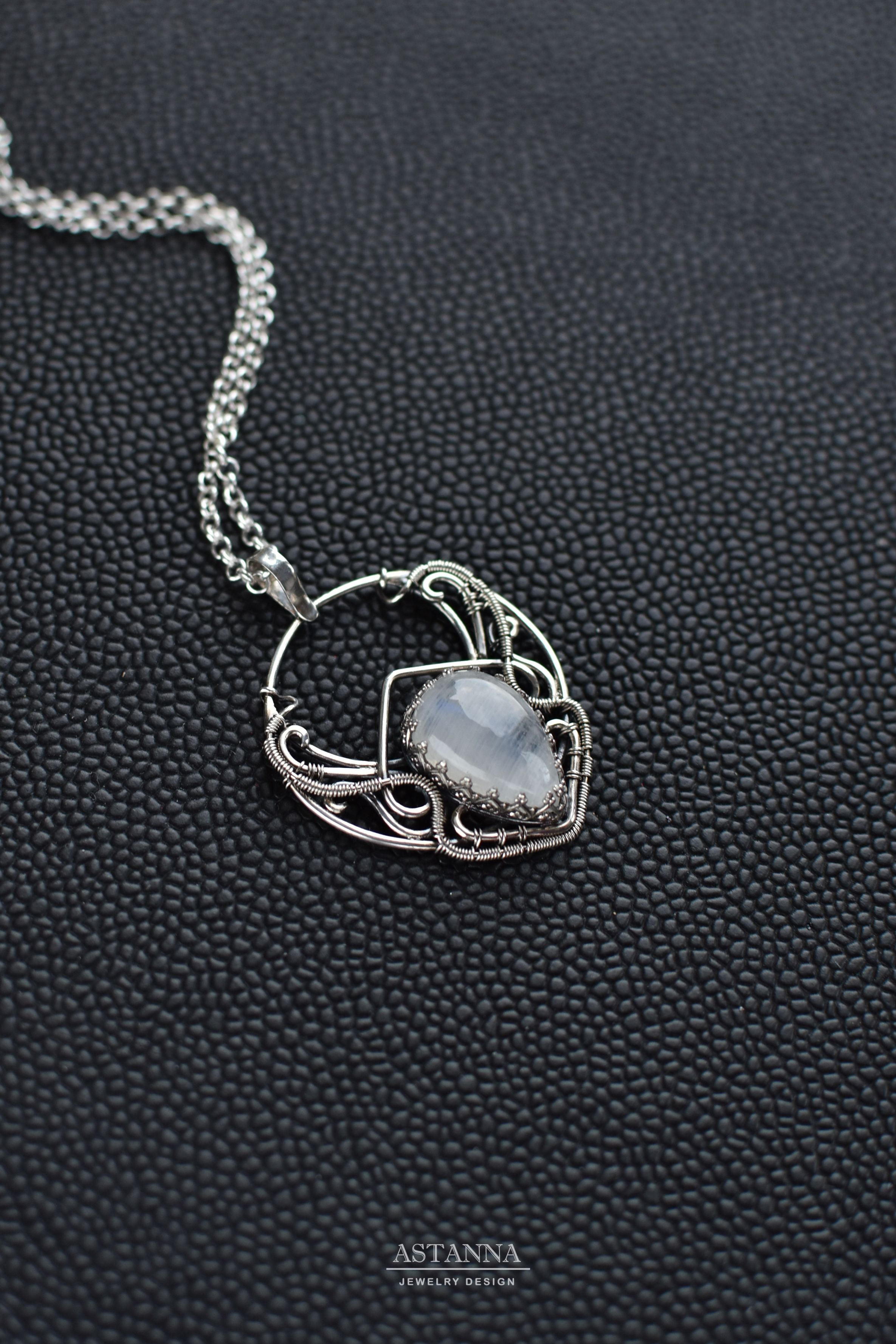 9623cef44 Silver moonstone amulet pendant, Wire wrap jewelry, Crescent moon ...