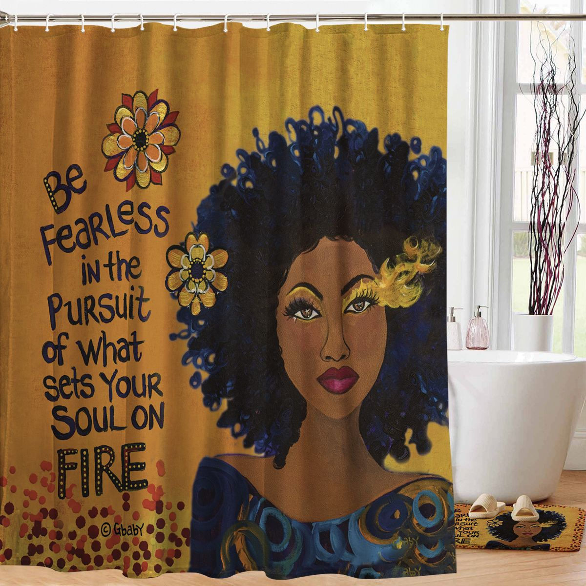 Composite Of A Woman Designer Shower Curtain Shades Of Color