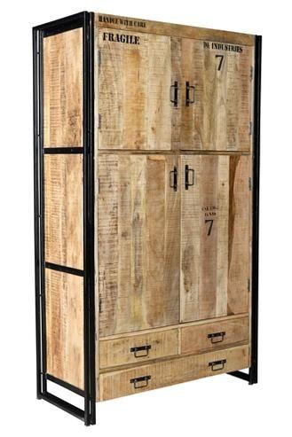 Industrial Chic Kleiderschrank Aus Massivholz Industrial Mobel Kleiderschrank Holz Recycelte Mobel