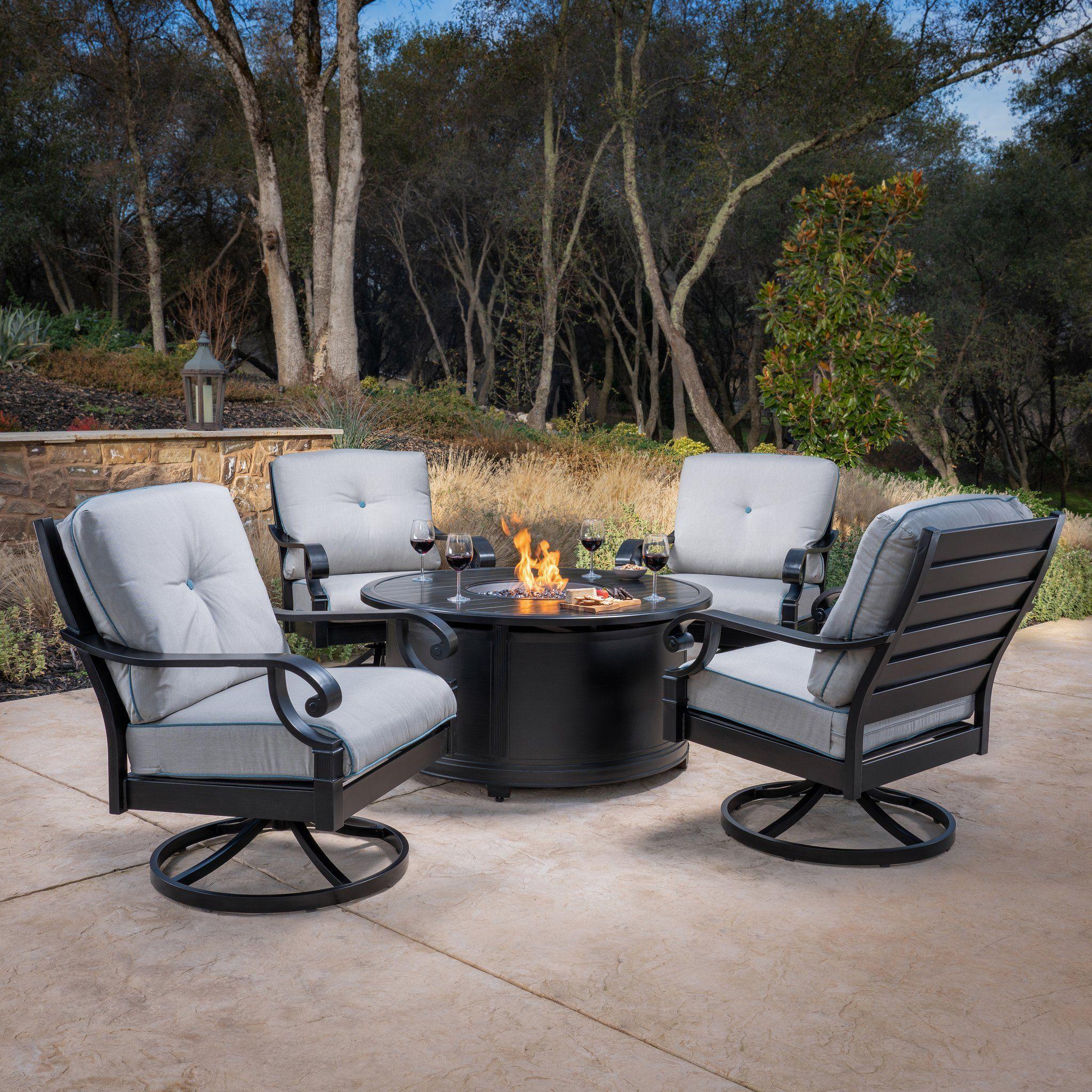 Verena 2 Piece Swivel Rocker Lounge Chairs Fire Pit Chat Set Patio Teak Outdoor