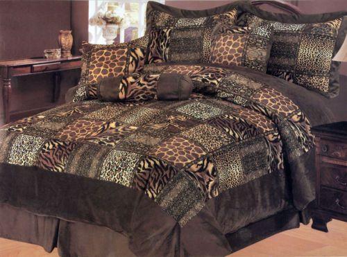 7 Pcs Leopard Giraffe Tiger Velvet Comforter Set Bed In A
