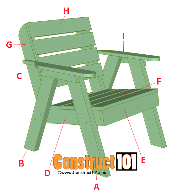 Lawn Chair Plans is part of Wood chair diy - Lawn chair plans and matching side table, includes illustrations, measurements, shopping list, and cutting list  Easy DIY weekend project