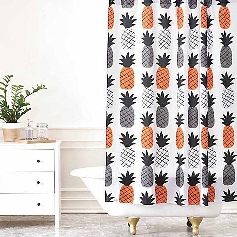 Deny Designs Zoe Wodarz Pineapple Pumpkin Shower Curtain Bathroom Themes Pumpkin Shower Fabric Shower Curtains