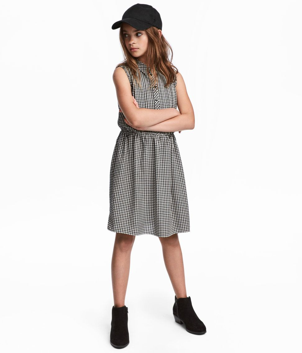 Check this out sleeveless shirt dress in woven viscose fabric