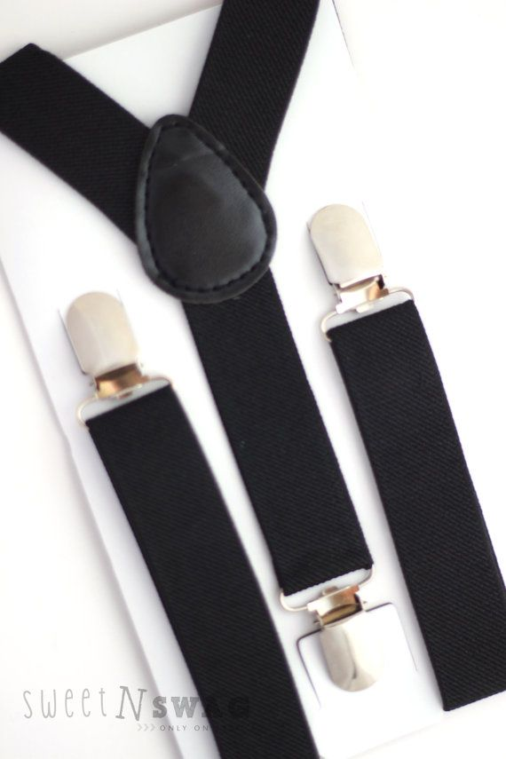 BLACK SUSPENDERS.  Newborn - Adult sizes.