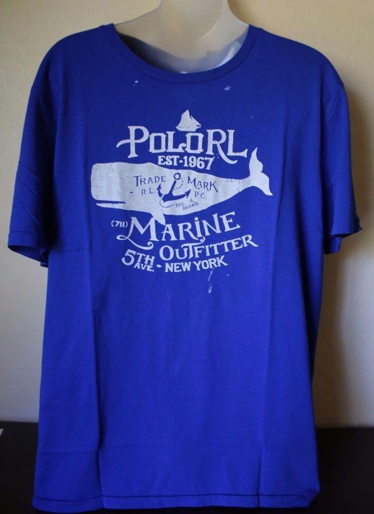541d7794 Ralph Lauren POLO RL Blue Tee Shirt Men's Whale Short Sleeve Summer Size XL  NEW #PoloRalphLauren #GraphicTee