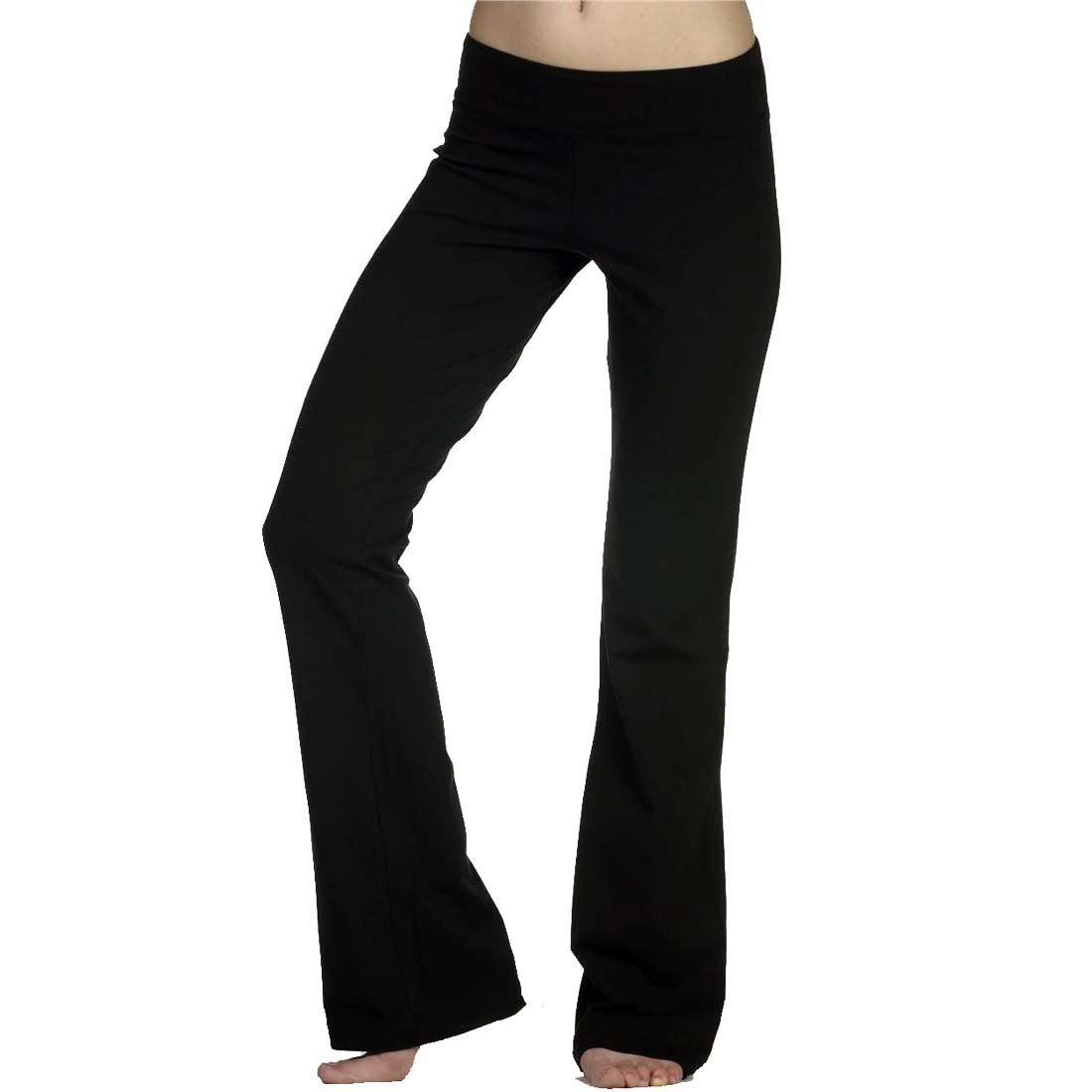 Womens Solid Foldover Solid Bootleg Flare Yoga Trousers