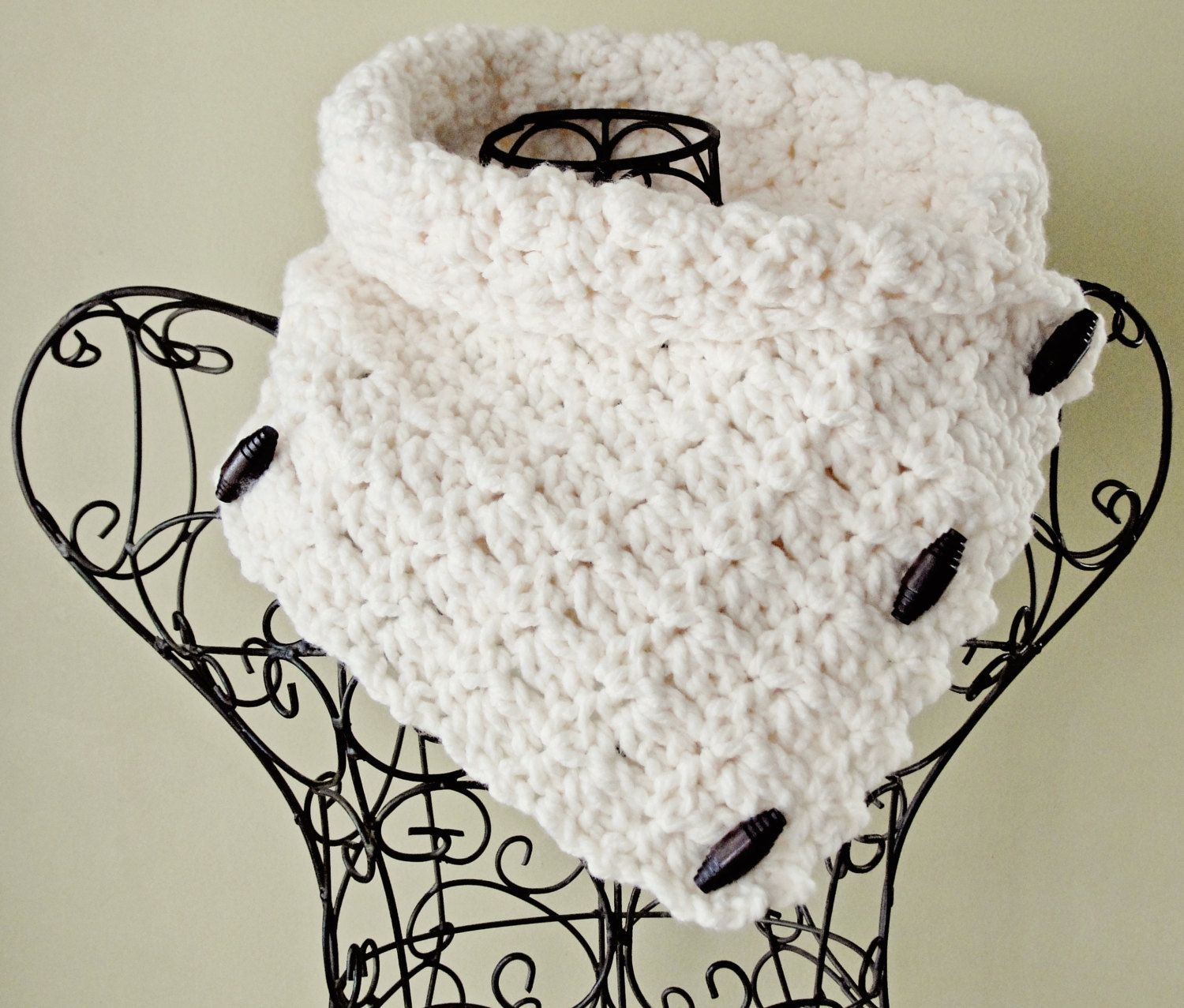 Cowl CROCHET PATTERN Chunky Button Scarf The BRISTOL. $5.99, via ...