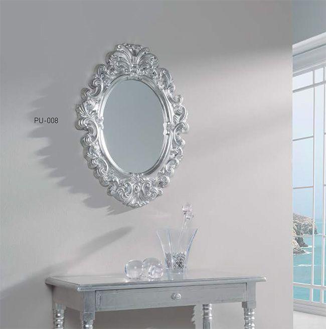 Espejo cl sico plateado espejo de pared plateado espejo for Espejos dorados baratos