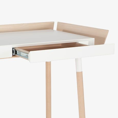 der 39 my writing desk 39 von ist ein tisch mit zwei schubladen eingerahmt von gesc. Black Bedroom Furniture Sets. Home Design Ideas