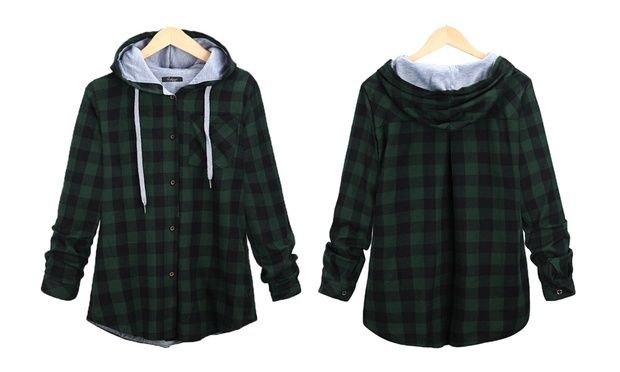 Suitable for casual wear, this plaid cardigan jacket features a hood with a drawstring, O-neck, and a chest pocket