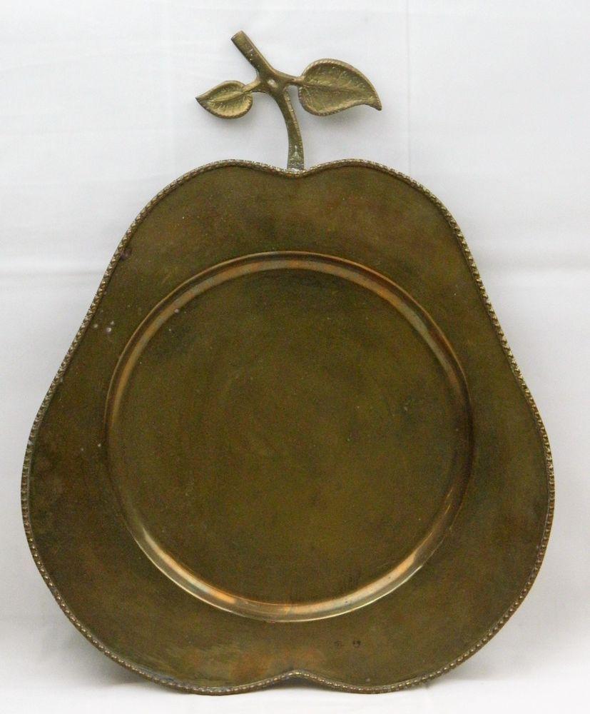 Large Decorative Serving Trays Prepossessing Pear Shaped Plate Platter Vtg Brass Fruit Serving Tray Decorative Decorating Design