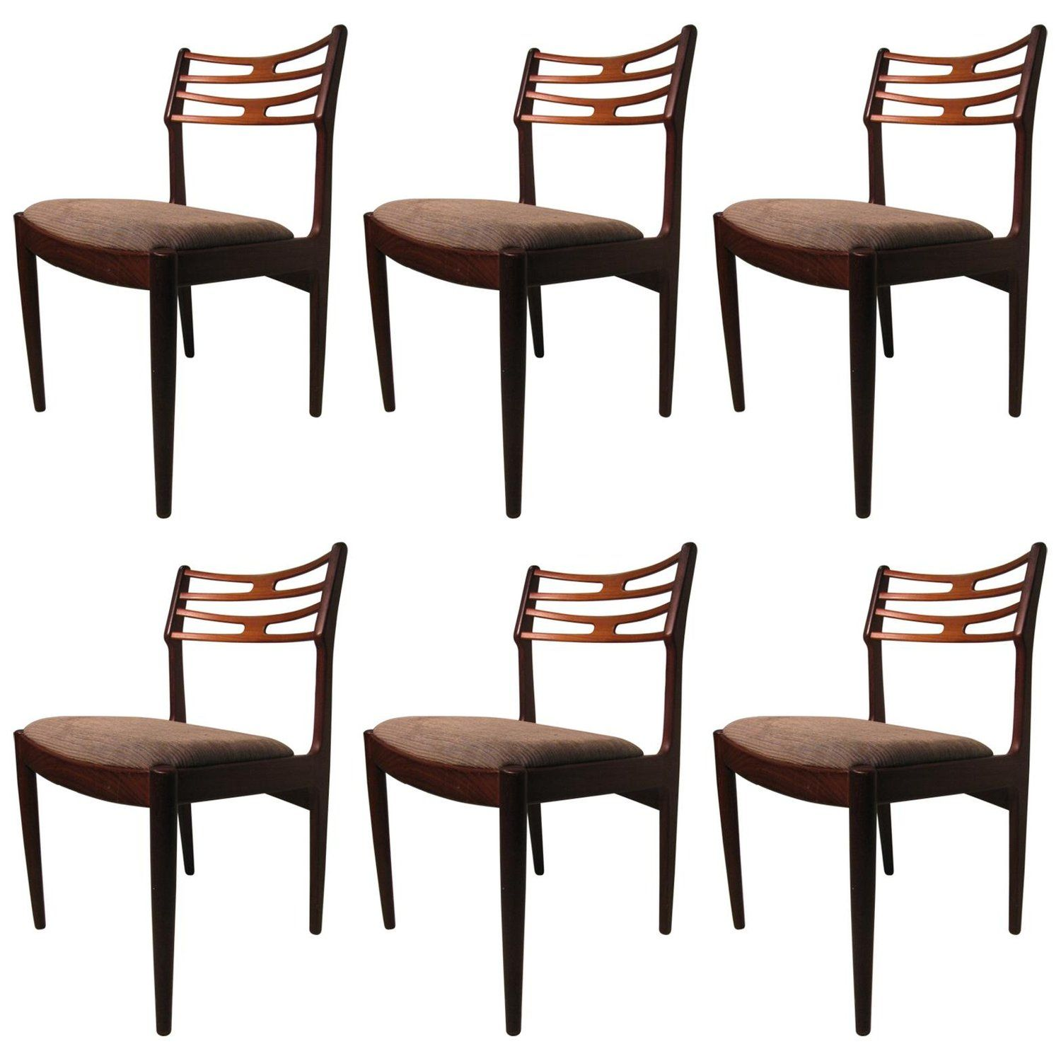 Set Of Six Niels Otto Moller Dining Room Chairs Danish Mid