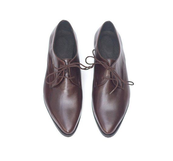 Women Leather Shoes Dark Brown Leather Oxfords Flat Oxford Shoes