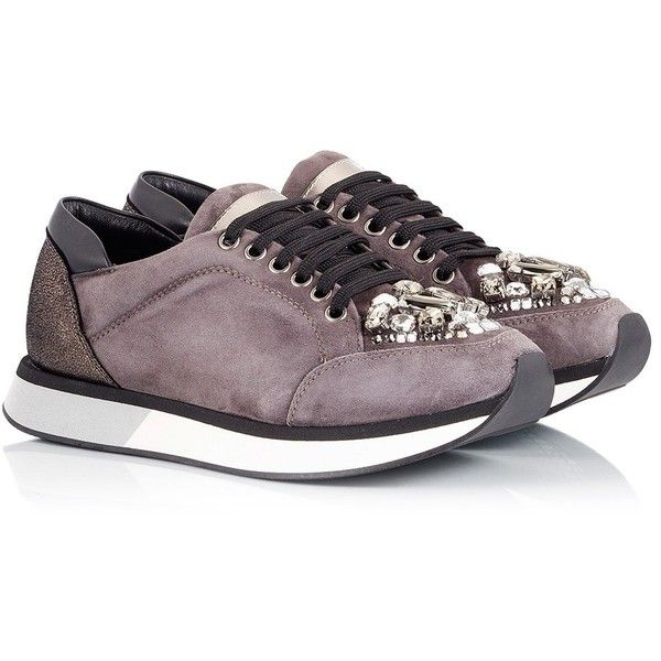 Eddy Daniele - Grey suede leather Swarovski crystal low-top sneakers (€310) ❤ liked on Polyvore featuring shoes, sneakers, grey, grey sneakers, low top, gray sneakers, grey suede sneakers and suede sneakers