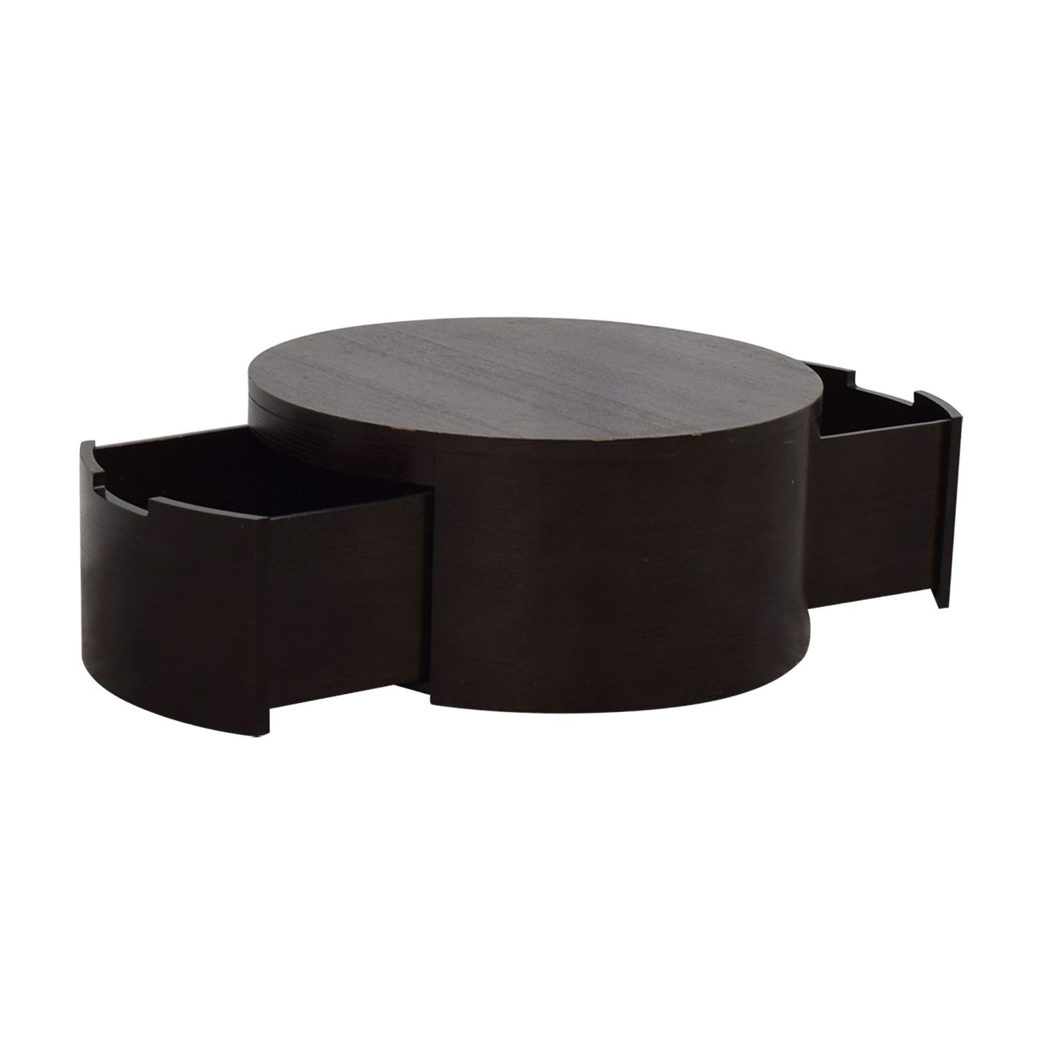 79 Off Land Of Nod The Land Of Nod Round Coffee Table With Two Drawer Storage Storage Round Coffee Table Coffee Table Storage Drawers [ 1500 x 1500 Pixel ]