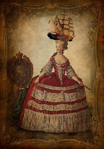 Fans of big hair might like this... Marie Antoinette wearing a frigate!