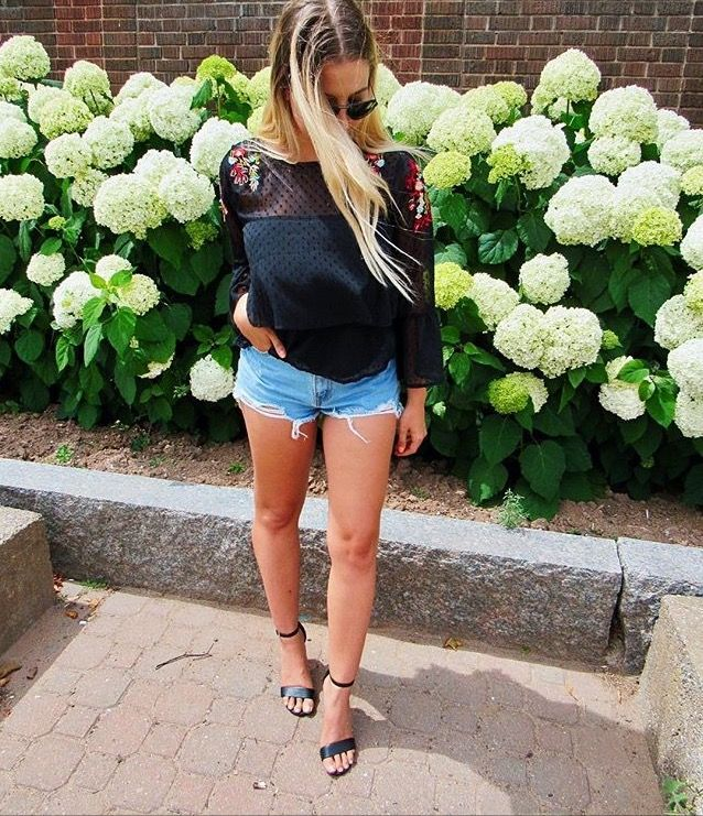 #Embroidereddetail #denimshorts #heels