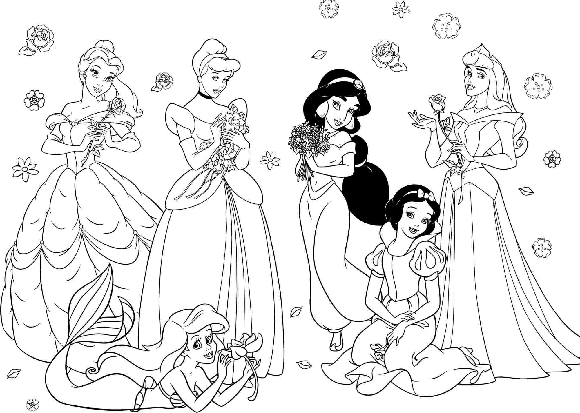 Disney princess coloring pages and activities