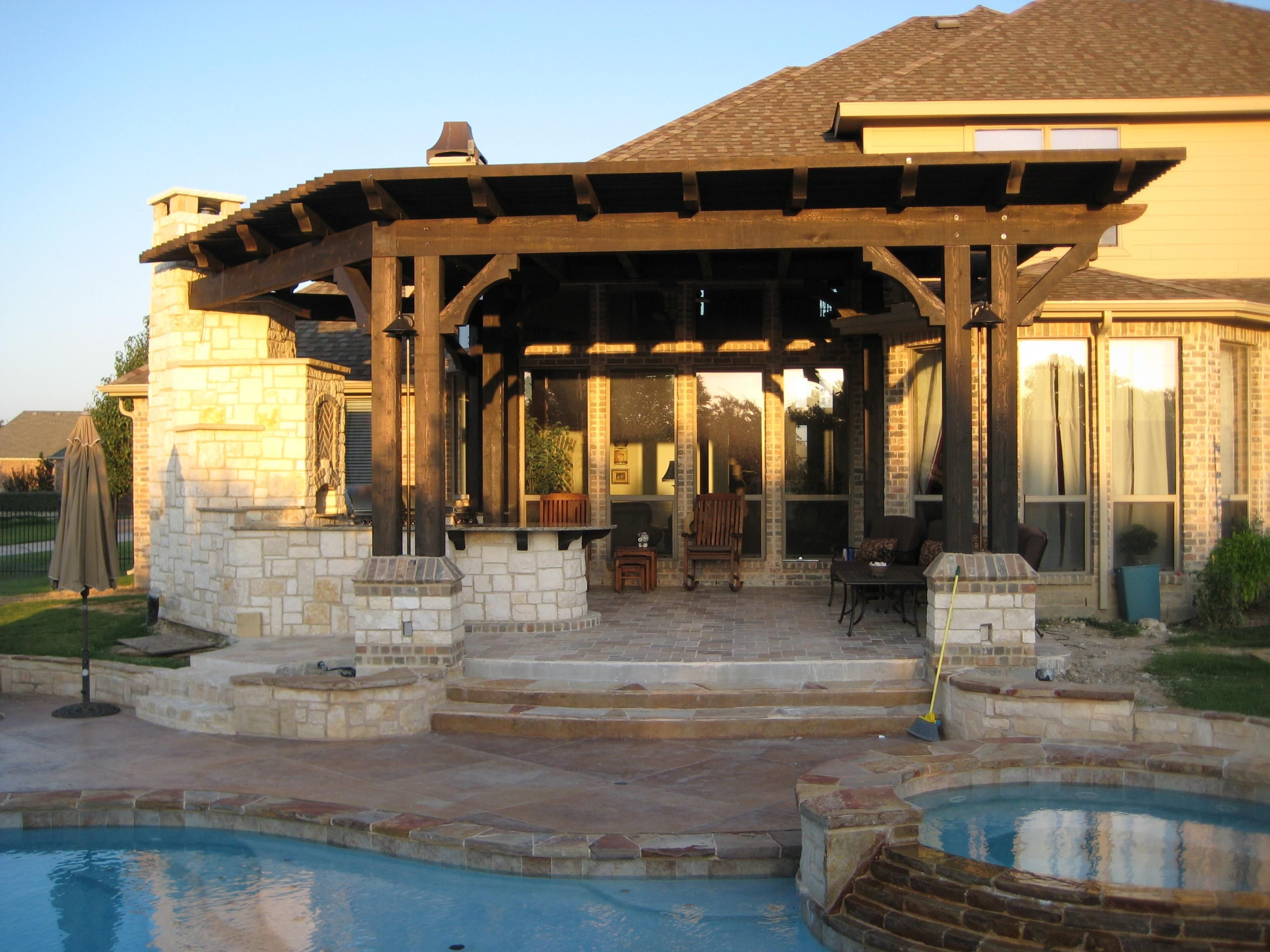 backyard ideas pergula roof attached to house