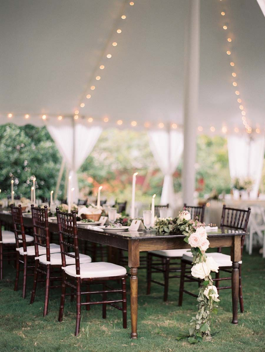 Farm table floral runner for a Wedding. The venue