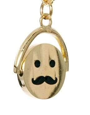 Spinning Moustache Face Pendant Necklace